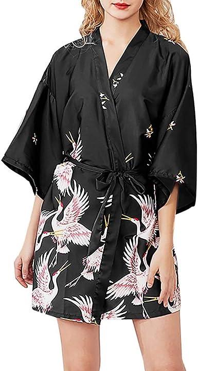 Crane Print Kimono Japanese Style Loose Women Ladies Bathrobe Coat Black White