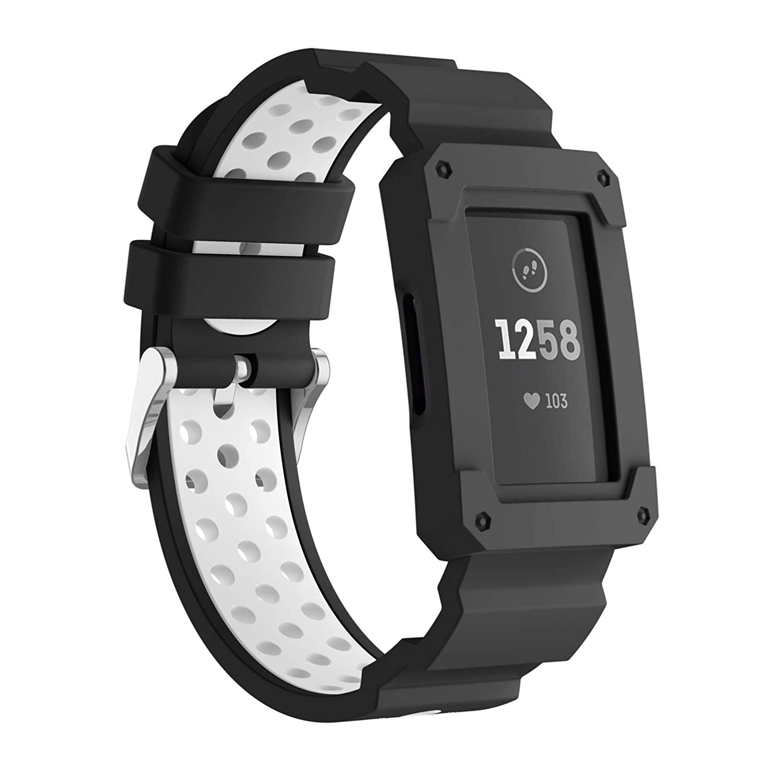 Usitek Fitbit Charge 3 & Charge 3 SE用バンド ソフトシリコンスポーツ 頑丈な保護フレームケースバンド ストラップ Fitbit Charge 3 バンド レディース メンズ B07JKH7NYS ブラック/ホワイト