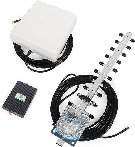 Alta Ganacia 65dB 1800MHz Amplificador de Señal Kit con Panel Antena interior y GSM Yagi Antena Exterior con Cable de 10m para Uso de Edificios, Casa ...