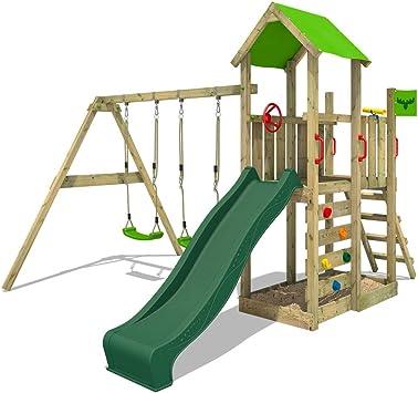FATMOOSE Aire de jeux MagicMango Move XXL vert avec double balançoire, toboggan et Bac à sable