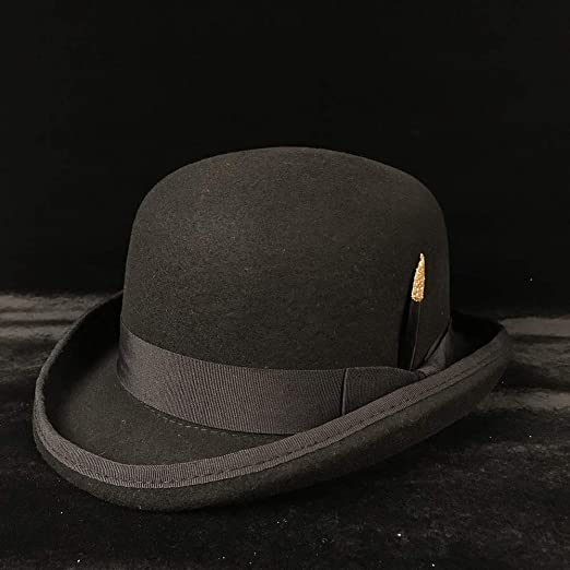 927f932cbbcc5 SGJFZD Paris Fashion Men Wool Jazz Hat Dome Vintage Dress Casual Male  Winter Warm Bowler Hat Cap Floppy Brim Fedora Hat Black Grey (Color   Black