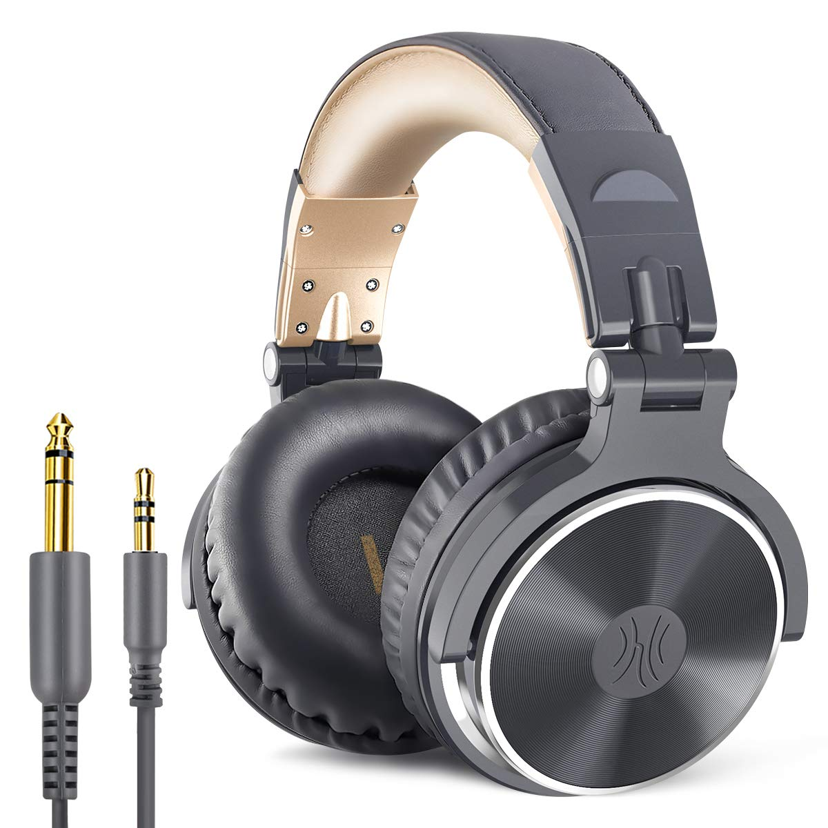 OneOdio Over Ear Headphone Studio Wired Bass Headsets with 50mm Driver, Foldable Lightweight Headphones with Shareport and Mic for DJ Recording Monitoring Mixing Podcast Guitar PC TV (Golden Grey)