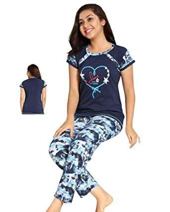 TWGE Night Suit for Kids - Blue Top and Pyjama Set - Printed Tshirt and Pyjama  Set for Children - Soft Cotton Material ... c5476ce1a
