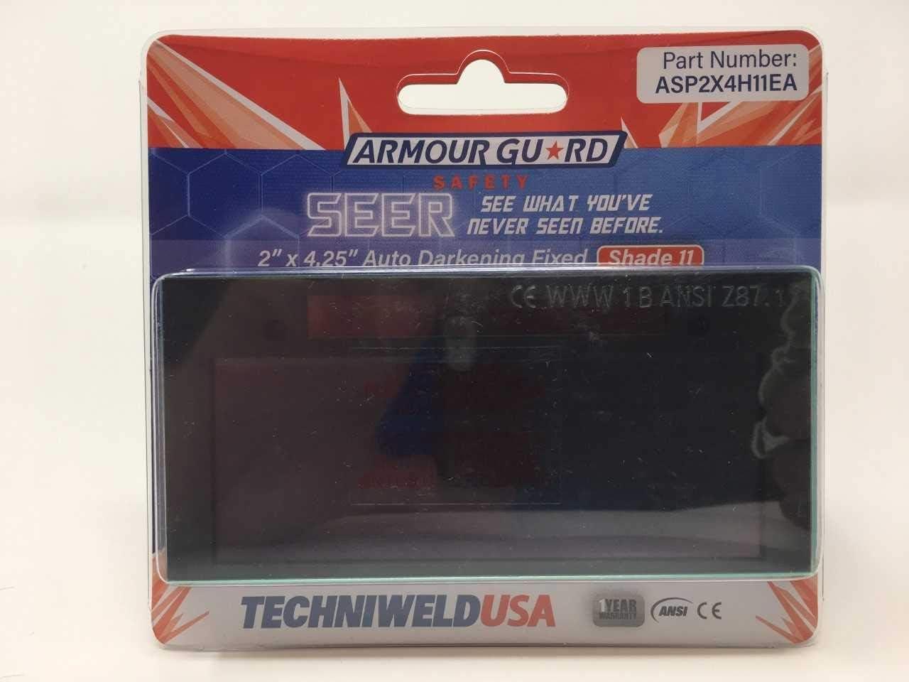 Armour Guard 2 x 4-1//4 Auto Darkening Fixed Shade 10 Welding Lens