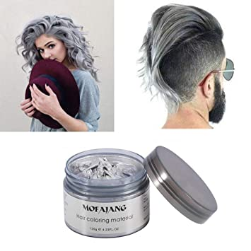 Mofajang Silver Grey Hair Color Wax Natural Hairstyle Wax 4 23 Oz Temporary Hairstyle Cream For Party