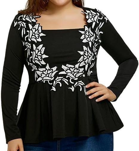 BURFLY® Las mujeres señoras bordado Baggy camisas, Fashion manga larga boda fiesta Casual negro Tops blusa, # x1 F343; Plus Size cintura alta elegante camisas para mujer, mujer, Fashion, 🍃 Black: Amazon.es: