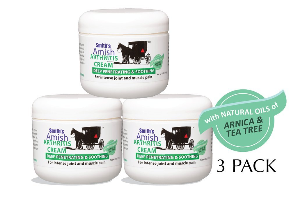 Smith's Amish Arthritis Relief Cream 3 Pack (three 4 oz Jars) with Arnica, Tea Tree, Eucalyptus, Peppermint and Rosemary by SMITH'S AMISH