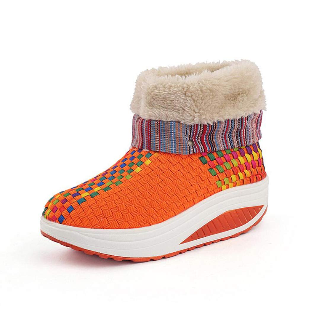 Zxcvb Damen Outdoor Warme Schuhe Winter Hohe Hilfe Plus Samt Warme Gewebte Damenschuhe Sport Rocking Schuhe Damen Casual Schuhe