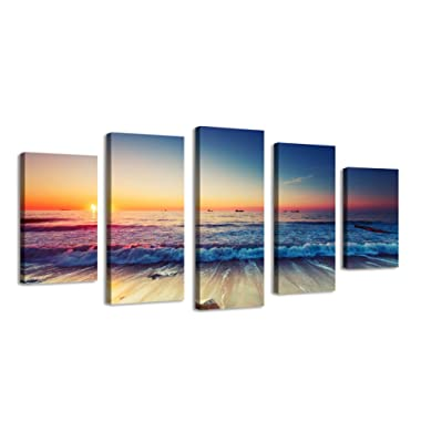 BIL-YOPIN Artwok Stretched Canvas Printing 5 Panels Waves Seascape Canvas Painting Set Wall Art Modern Prints for Home Decor
