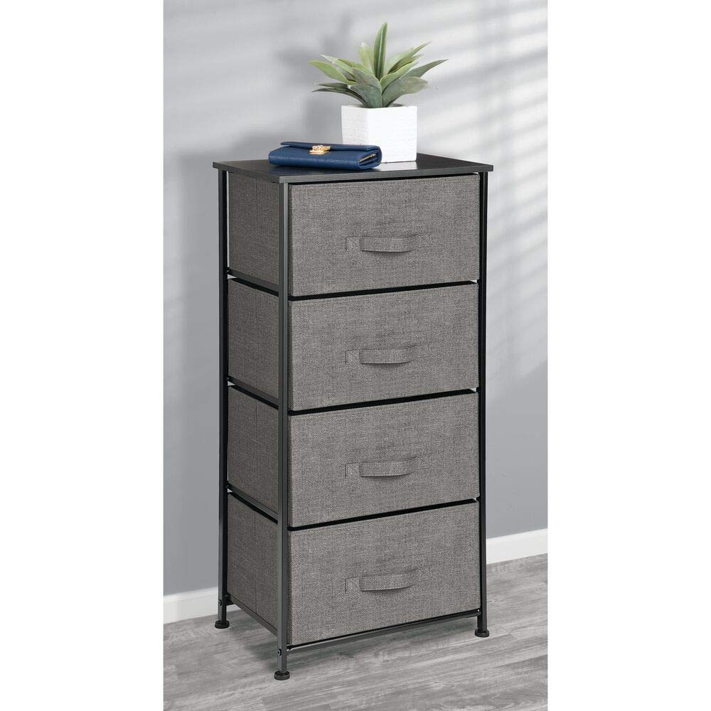 mDesign Vertical Dresser Storage Tower - Sturdy Steel Frame, Wood Top, Easy Pull Fabric Bins - Organizer Unit for Bedroom, Hallway, Entryway, Closets ...