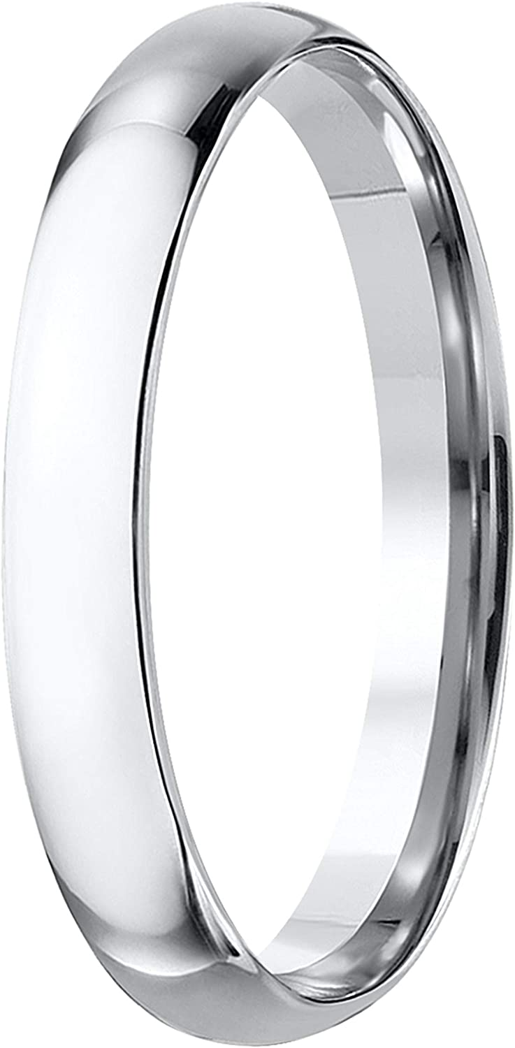 White Gold Plated Silver Size 6 Prism Jewel 3.30mm D Shape Plain Stackable Wedding Band