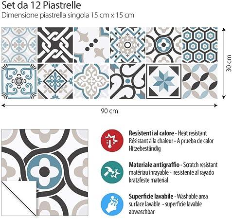Braga Stickers Azulejos Adhesivo Decorativo para Azulejos para ba/ño y Cocina Adhesivo para Azulejos 15x15 cm Collage de Azulejos PS00089 32 Piezas