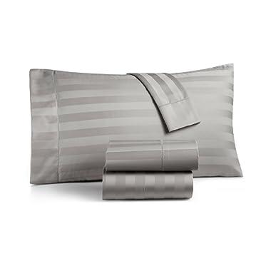 Charter Club Damask Stripe King 4-Pc Sheet Set, 550 Thread Count Pure Supima Cotton (Smoke)