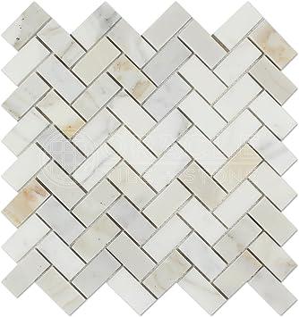 Marble 1 X 3 Herringbone Mosaic Tile Calacatta Gold Honed Italian Calcutta