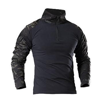 LHHMZ Chemise à Manches Longues Militaire pour Homme Chasse au Combat en Noir  Randonnée T- b5050d8f7cd
