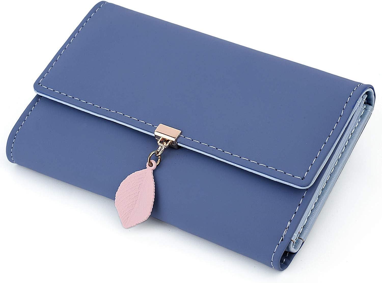 UTO Small Wallet for Women PU Leather Leaf Pendant Card Holder Organizer Girls Zipper Coin Purse CA