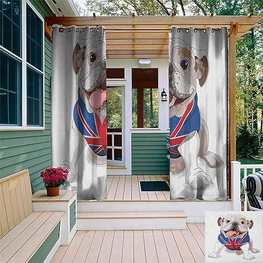 XXANS - Cortina de pérgola con diseño de Bulldog Retrato con Salpicaduras de Color arcoíris, diseño de Animal simplista, para Patio/Porche Frontal: Amazon.es: Jardín