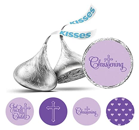 324 Personalized Baptism Christening Hershey Kiss Stickers Labels Blue