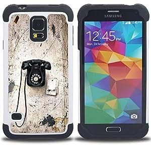 """Pulsar ( Viejo Rotary Vintage Vignette Teléfono con cable"""" ) SAMSUNG Galaxy S5 V / i9600 / SM-G900 V SM-G900 híbrida Heavy Duty Impact pesado deber de protección a los choques caso Carcasa de parachoques [Ne"""