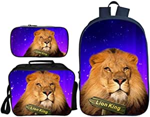 Asdfnfa Backpack Children's Three-Piece Suit 3D Printing Starry Sky Lion King Primary School Bag with Lunch Bag and Pencil Case (Color : 7)