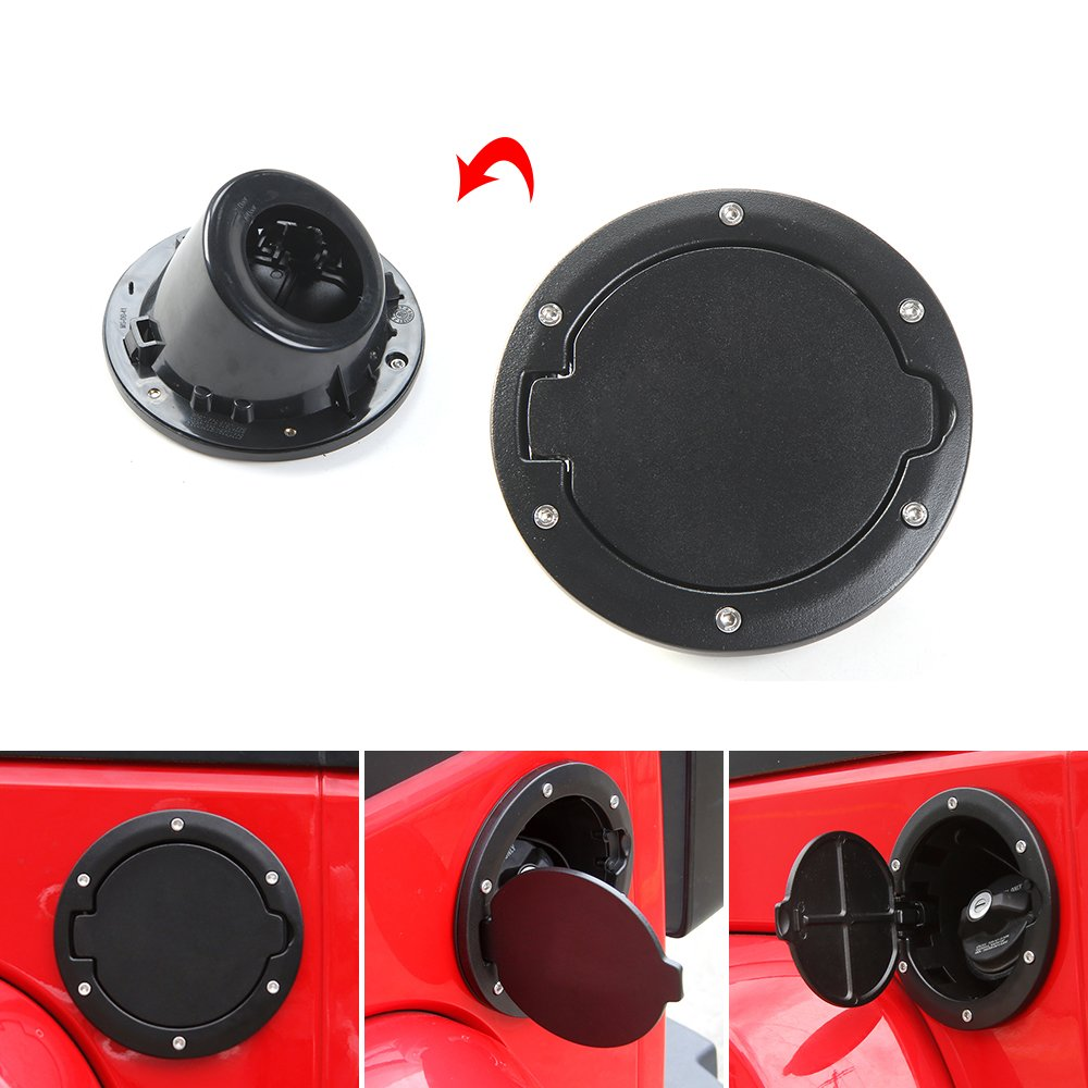 Savadicar Black Gas Cover Cap for Jeep Wrangler 07-16 JK Fuel Filler Door Handy by Savadicar