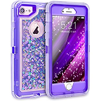 afb8f84f84c55 iPhone 8 Case, iPhone 7 Case, iPhone 6 Case, Dexnor Glitter 3D Bling  Sparkle Flowing Liquid Case for Girls 3 in 1 TPU Silicone + PC Protective  ...