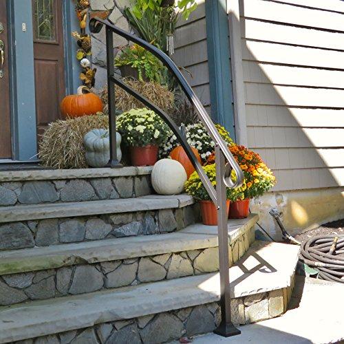 InstantRail 5-Step Adjustable Handrail (Black for Concrete Steps)