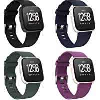 Recoppa Compatible with Fitbit Versa Bands for Women Men Large Small, Adjustable Replacement Wristbands for Fitbit Versa/Versa 2/Versa Lite Edition/Versa Special Edition, 4 Packs