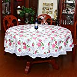 Water-proof large round table cloth Pvc oil-free cleaning round table cloth Garden home hotel plastic tablecloth-H Diameter:152cm(60inch)