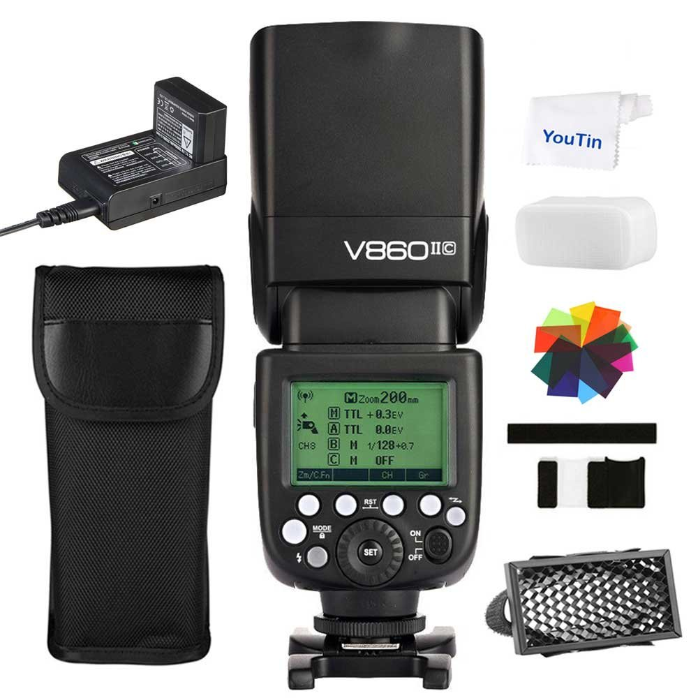 Godox V860II-C Camera Flash Speedlite HSS GN60 2.4G Wireless + 2000mAh Lithium-ion Battery for 6D 7D 50D 60D 500D 550D 600D 650D Canon EOS Cameras