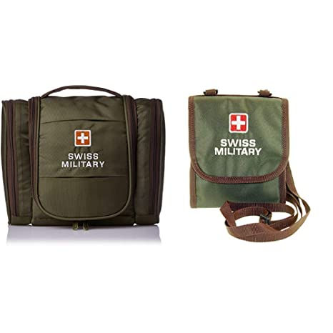 Swiss Military Green Toiletry Bag + Green Unisex Wallet (TB-2 + TW-3)   Amazon.in  Bags 0a55bc4786a60