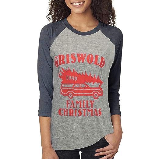 e69599ccaeb Perman Women Christmas Clothing Merry Christmas Loose Fit Splicing Printing  Long Sleeve Blouse T-Shirt