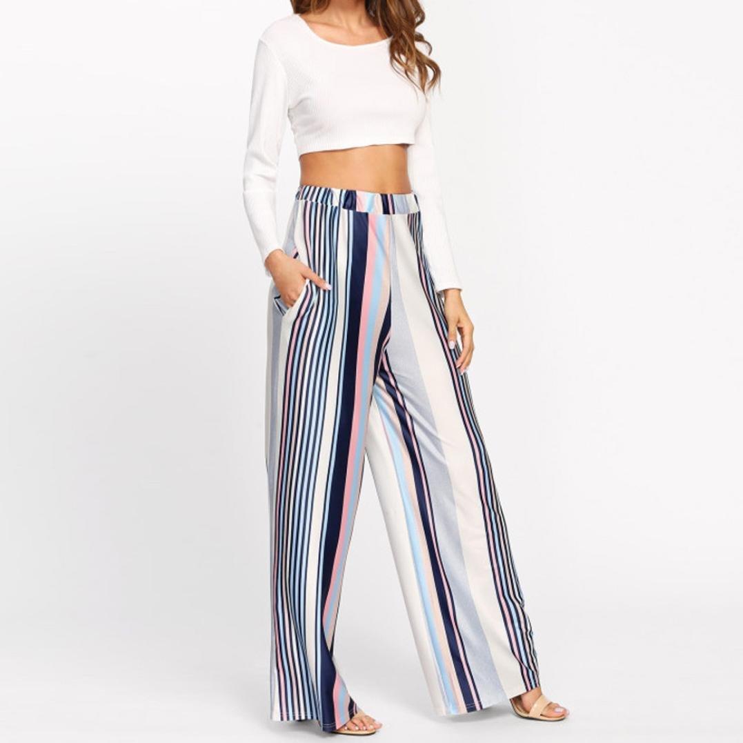 2019 Palazzo Pants,Women Casual Stripe Print Wide Leg Trousers Leggings by-NEWONSUN