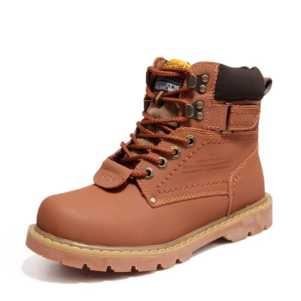 HILOTU Arbeitsstiefel für Herren Runder Zeh Leder isoliert Rutschfeste Arbeitsschuhe High Top Arbeitsschutzschuhe Lässige Schuhe