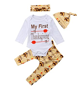 f263894f09c 4Pcs My First Thanksgiving Outfits Baby Boy Girl Long Sleeve Romper Turkey  Print Pants Hat Headband