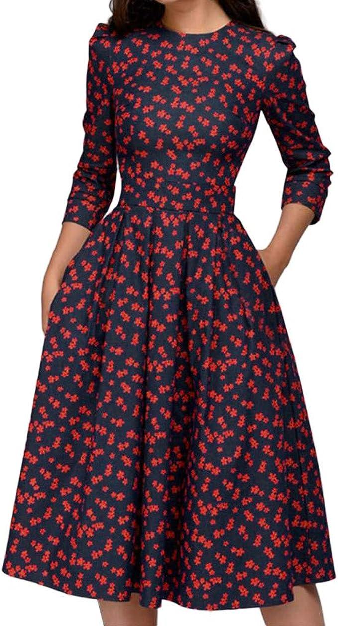 Women Retro Ethnic Floral Print Dresses Long Sleeve Casual Slim Midi Shirt Dress