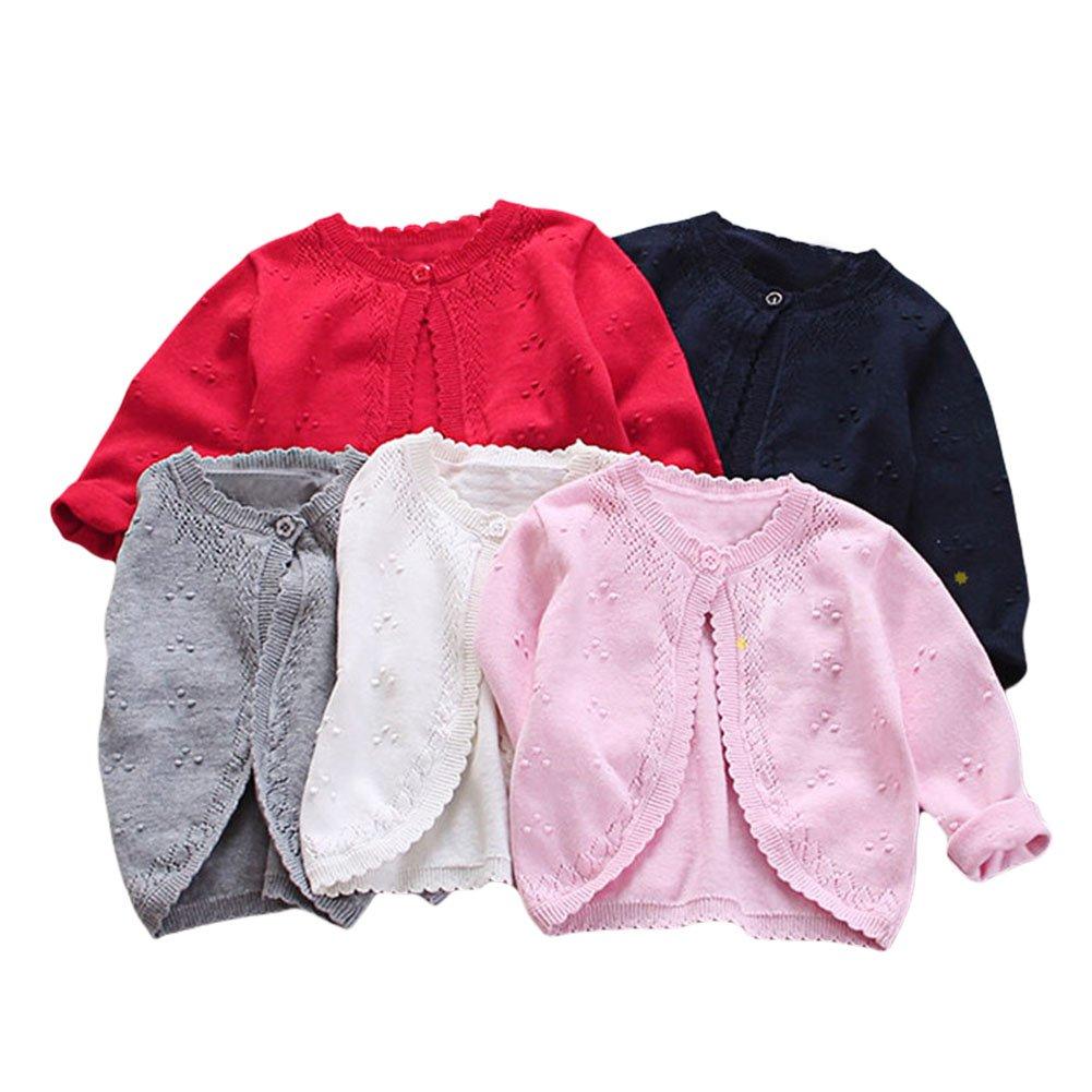 ddb10f14764e Amazon.com  Baby Toddler Girls Princess Cardigan Knit Sweaters ...