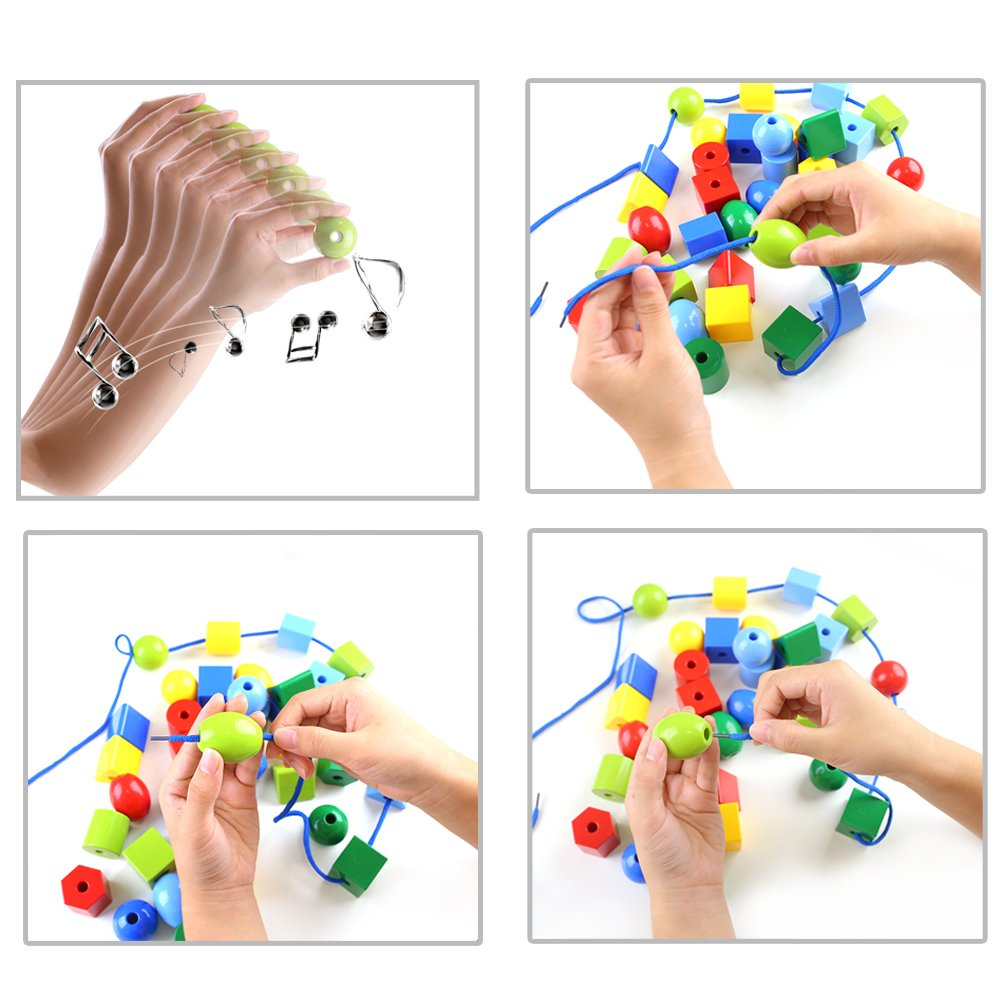 LovesTown Lacing Bead Set, Educational Stringing Toy Montessori Toys Autism Toys for Toddlers Kids Preschool Children with 36 Jumbo Beads & 2 Threads