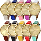 Yunanwa 10 Pack Assorted Women's Men's Watches Gold Platinum For Summer Dress Jelly Leather Lovers