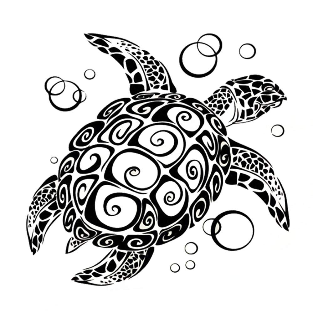 """Homefind (Black 24""""w X 21""""h) Ocean Wonders Under the Sea Turtles with Bubbles Under Sea Animals Vinlyl Wall Decals Stickers Removable for Living Room Bedroom Bathroom Décor (Turtle)"""