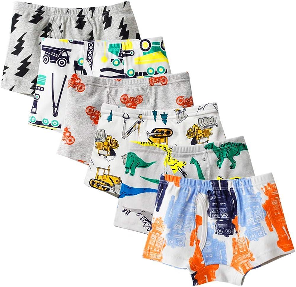 Kidear Ropa Interior Kids Series de algodón Suave para niños pequeños Escritos del Boxeador Clasificados de los Muchachos (Paquete de 6)