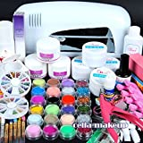 Nail Dryer 9w Uv Dryer Lamp 24 Colors Acrylic Powder Nail Art Kit Gel Tools Full Set Professional by MJshop