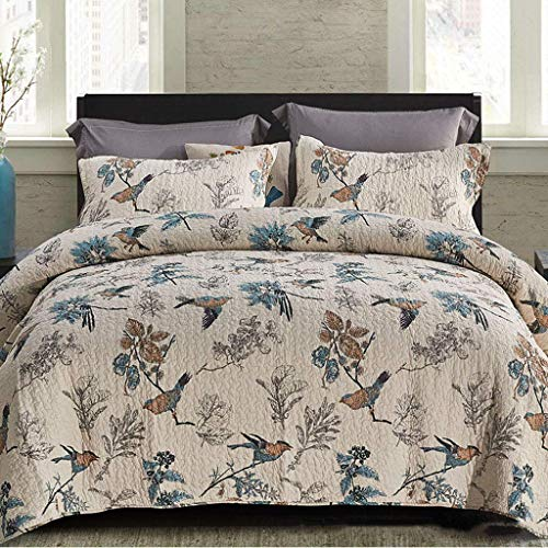 Flowing water 3-Piece Cotton Quilt Bedspread Soft Patchwork Handmade Simple Coverlet Set for King Size Quilting Bedspread Set