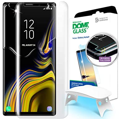 timeless design 3ebee 6ebae Galaxy Note 9 Screen Protector Tempered Glass, Dome Glass Full 3D Curved  Edge Screen Shield [Liquid Dispersion Tech] Easy Install Kit by Whitestone  ...
