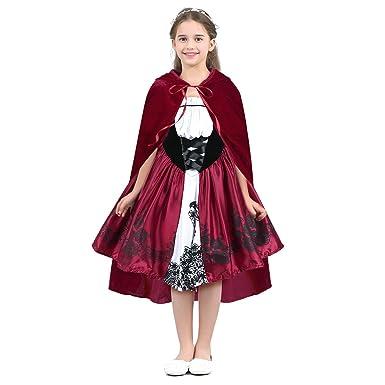 f15fd9241503f YiZYiF Enfant Fille Déguisement de Petit Chaperon Rouge Robe Cérémonie  Performance Tutu Robe et Cape Cosplay