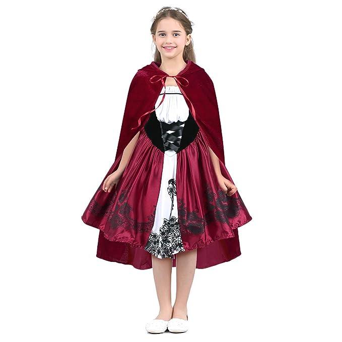 CHICTRY Vestido de Princesa con Capa Desmontable Infantil Disfraz ...