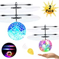 ZGWJ Flying Ball Toys,2 Pack LEDRC Toy for Kids Boys Girls Gifts Rechargeable Light Up Ball Drone Infrared Induction Helicopterwith 2 Remote Controller for Indoor and Outdoor Games
