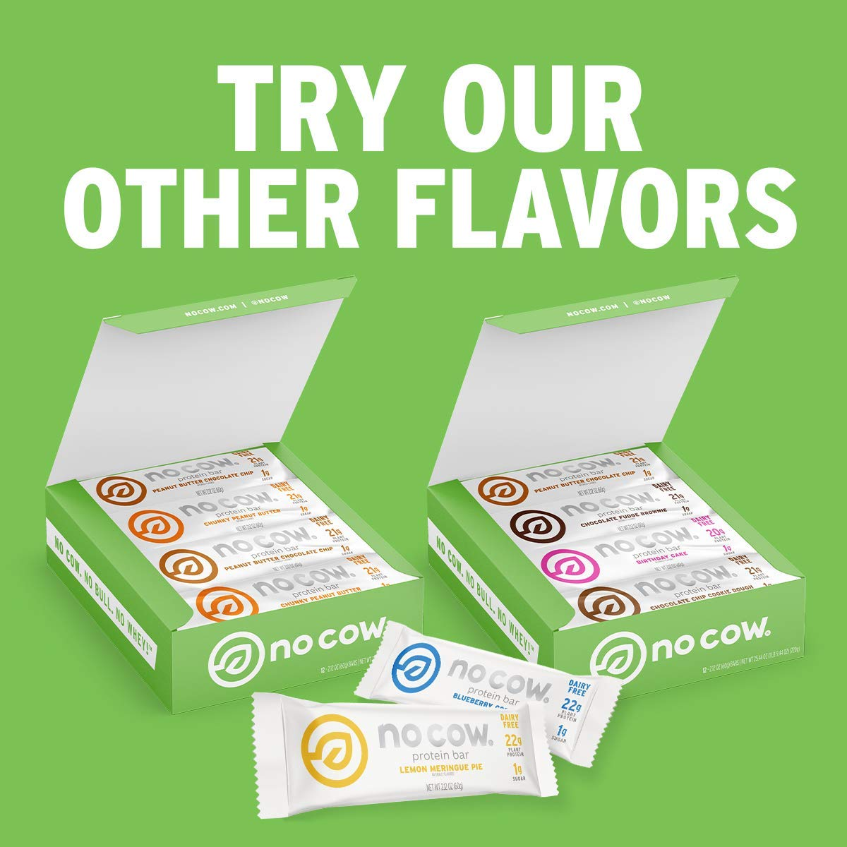 Amazon.com : No Cow Protein Bars, 12 Flavor Sampler Pack, 20g Plus Plant Based Vegan Protein, Keto Friendly, Low Sugar, Low Carb, Low Calorie, Gluten Free, Naturally Sweetened, Dairy Free, Non GMO,