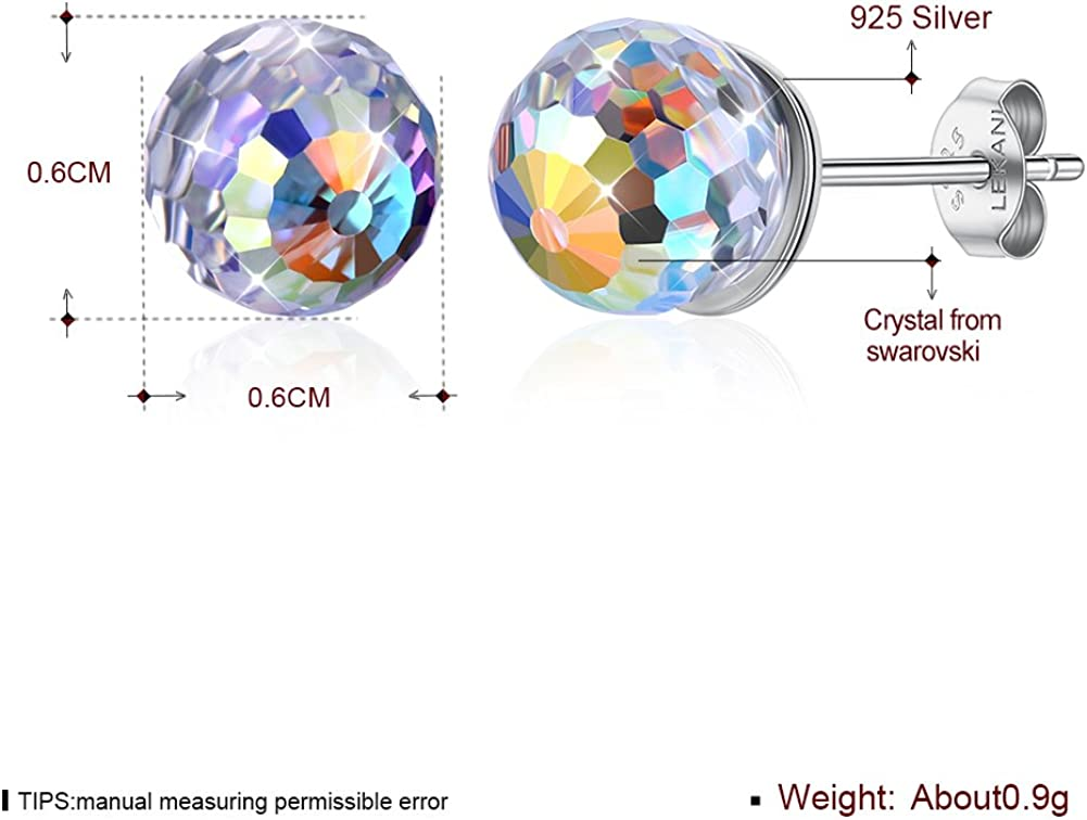 S925 Sterling Silver Crystal Earring Studs Ball Round Crystal Mini Post Studs Earring