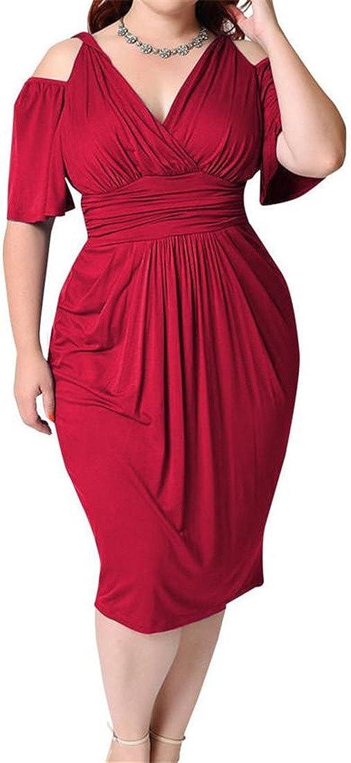 Big Tang Womens Criss V-Neck Cold Shoulder V-Back High Waist Bodycon Dress